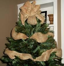 burlap christmas tree burlap christmas tree topper bow with garland ribbon tree
