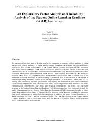 an exploratory factor analysis and reliability analysis of the