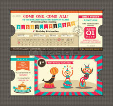 birthday card with circus ticket pass design template royalty free