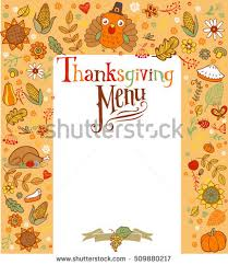 thanksgiving menu card traditional symbols stock vector