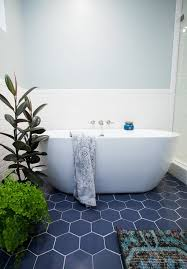 tile by design hexagon blue floor tile with white subway tile modern fresh