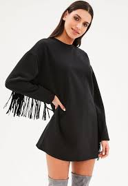 black fringe sweater black fringe sweater dress missguided