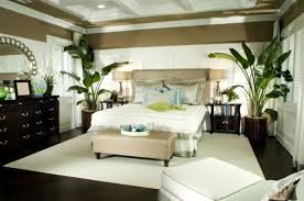stylish tropical bedroom with fresh wallpaper and bamboo canopy