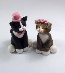 cat cake topper tuxedo cat and tabby cat wedding cake topper by