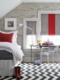 chevron rug for contemporary bedroom with black and white