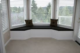 Bedroom Grey Carpet White Walls White Serene Bay Window Seats With Black Cushions And Pillows Also