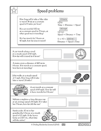 4th grade math worksheets calculating speed multiplication and