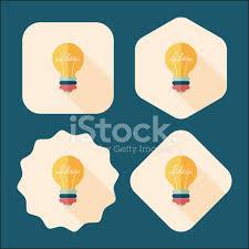Flat Light Bulb Light Bulb Flat Icon With Long Shadow Eps10 Stock Photos