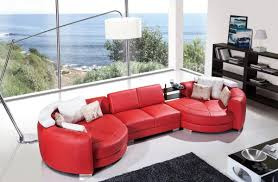 Red Leather Chaise Lounge Chairs Plush Red Leather Sectional Sofa With Double Round Chaise Lounge