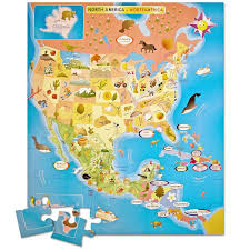 Canada Map Game by Amazon Com Ingenio North America Map Bilingual Puzzle Toys U0026 Games