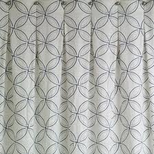 transitional linen shower curtain with geometric pattern and linen