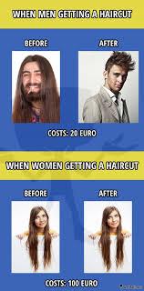 Men And Women Memes - getting a haircut men vs women meme picture woman meme men vs