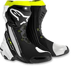 white motorcycle boots mens alpinestars supertech r textile black white yellow motorcycle