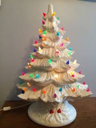 vintage white ceramic tree with lights rainforest