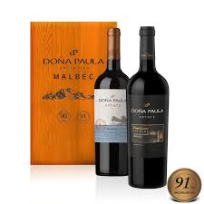 wooden gifts dona paula estate malbec wine selection in wooden gift box 2 x
