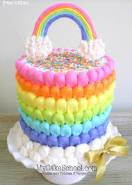 puffed rainbow cake free cake decorating video my cake