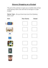 Free Independent Living Skills Worksheets Grocery Store Worksheets Grocery Shopping On A Budget Worksheet