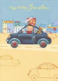 boy and dog in blue car grandson birthday card by designer greetings