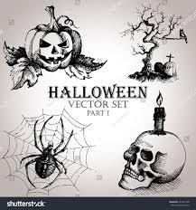 vintage halloween graphic hand drawn vintage halloween set vector stock vector 221821408