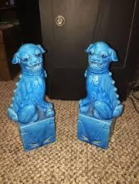 blue foo dogs pair of green blue porcelain foo dogs majorica glaze statue