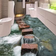 Stone Floor Bathroom - custom 3d floor wallpaper modern art river stones bathroom floor