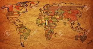 Chad Map Old Political Map Of World With Flag Of Chad Stock Photo Picture