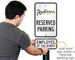 employee of the month parking sign award signs
