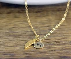 gold wing necklace images Rose gold initial necklace personalized angel wing necklace jpg