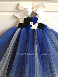 royal blue black ivory flower tutu dress