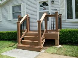 Back Porch Stairs Design Small Back Deck With Steps Porch Shown Timbertech Twinfinish