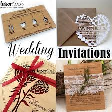 wooden wedding invitations laser link