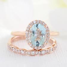 scalloped wedding band bridal set oval aquamarine ring in halo diamond scalloped band