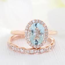scalloped wedding band bridal set oval aquamarine ring in halo diamond scalloped band