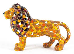 lion figurine mosaic lion colorful figurine size large 6 inches