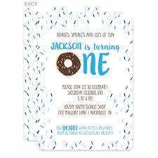 donut first birthday invitations blue printed u2013 pipsy