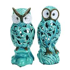 woodland imports 38873 decorative ceramic owl in blue with well