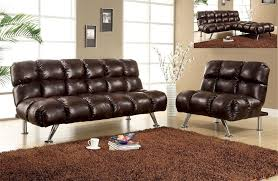 futon sofa bed and chair set dark brown leather like plush