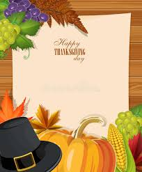 happy thanksgiving day greeting card with pumpkins pilgrim hat