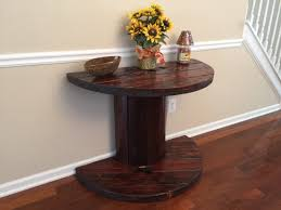 Cable Reel Table by Large Wooden Spool Cut In Half Sanded Stained And Polyurethaned