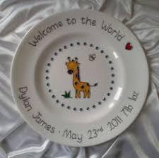 birth plate keepsake personalised naming day gift unicorn plate baby girl gift