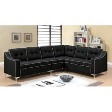 Black Fabric Sectional Sofas Decor Larisa L Shape Sectional Sofa In Black Fabric Finish