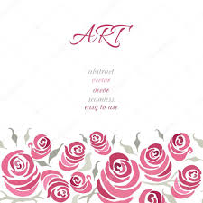 Wedding Invitation Empty Cards Romantic Card Design With Hand Painting Roses And Leaf Made On