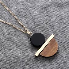 new pendant necklace images 1 pcs new geometric circular resin wood pendant gold chain long jpg