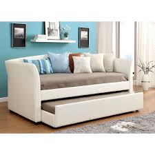 Daybed With Trundle Bed Furniture Of America Roby Leatherette Daybed With Trundle Hayneedle