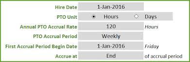 pto calculator excel template employee pto tracker vacation tracker