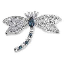 vintage silver tone blue sapphire color cz dragonfly brooch pin
