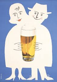 cartoon beer pint original vintage 1950s german beer poster ad lib pinterest