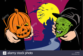 illustration of halloween masks exchange showing jack o lantern