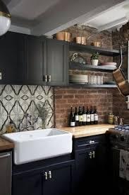 Black Kitchen Cabinets Pinterest Best 25 Kitchen Brick Ideas On Pinterest Exposed Brick Kitchen
