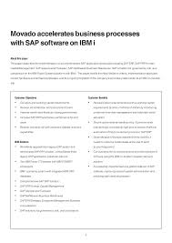 Wyotech Optimal Resume Movado Accelerates Business Processes With Sap Software On Ibm I